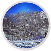 Snowy Round Beach Towel