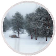 Snowy Morning - 0622 Round Beach Towel