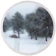 Snowy Morning - 0622 Round Beach Towel