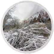 Snowy Mountains In Zion Round Beach Towel by Daniel Woodrum