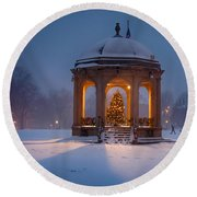 Snowy Night On The Salem Common Round Beach Towel