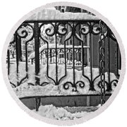 Round Beach Towel featuring the painting Snowy Nyc Steps by Joan Reese