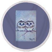 Snowy Owl Chicks Round Beach Towel
