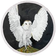 Snowy Owl Round Beach Towel by Christine Lathrop