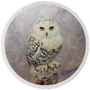 Snowy Owl Round Beach Towel by Janet McDonald