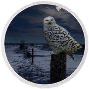 Snowy Owl On A Winter Night Round Beach Towel