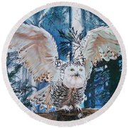 Snowy Owl On Takeoff  Round Beach Towel