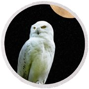 Round Beach Towel featuring the photograph Snowy Owl Under The Moon by Scott Carruthers