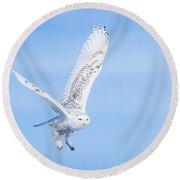 Snowy Owls Soaring Round Beach Towel