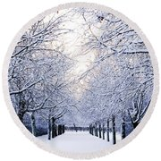 Snowy Pathway Round Beach Towel by Marius Sipa