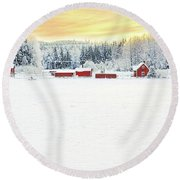 Snowy Ranch At Sunset Round Beach Towel