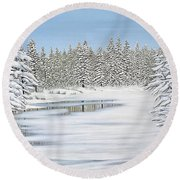 Round Beach Towel featuring the painting Snowy River by Kenneth M Kirsch