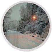 Snowy Road Round Beach Towel
