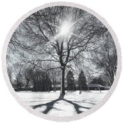 Round Beach Towel featuring the photograph Snowy Shadows by Nikki McInnes