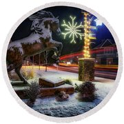 Round Beach Towel featuring the photograph Snowy Sisters by Cat Connor