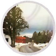 Snowy Street With Red House Round Beach Towel