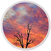 Snowy Sunset Round Beach Towel