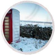 Snowy Telephone Box Round Beach Towel