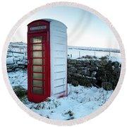 Snowy Telephone Box Round Beach Towel by Helen Northcott