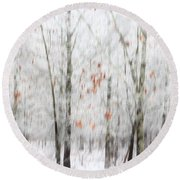 Round Beach Towel featuring the photograph Snowy Trees Abstract by Benanne Stiens