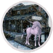 Snowy Unicorn Round Beach Towel