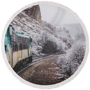 Snowy Verde Canyon Railroad Round Beach Towel