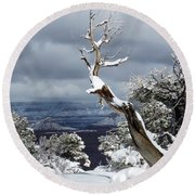 Snowy View Round Beach Towel