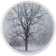 Snowy Walnut Round Beach Towel
