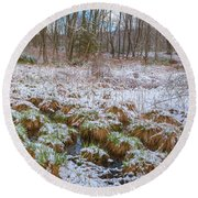 Snowy Wetlands Round Beach Towel by Angelo Marcialis