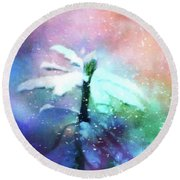 Snowy Winter Abstract Round Beach Towel