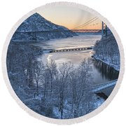 Snowy Winter Dawn At Three Bridges Round Beach Towel