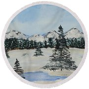 Snowy Winter Round Beach Towel