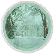 Snowy Winter Night Round Beach Towel