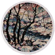 Snowy Woods Round Beach Towel by Natalie Holland
