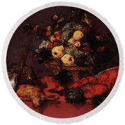 Snyders Frans Still Life With A Basket Of Fruit Round Beach Towel by Frans Snyders
