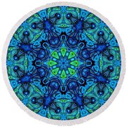 So Blue - 04v2 - Mandala Round Beach Towel