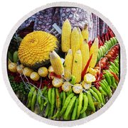 Round Beach Towel featuring the photograph So, Elephants Eat Red Hot Chile by Mr Photojimsf