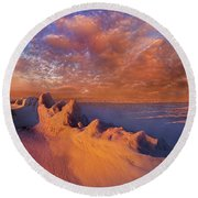 Round Beach Towel featuring the photograph So It Begins by Phil Koch