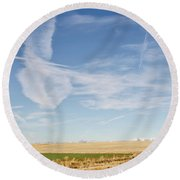 So Many Clouds And Contrails Round Beach Towel