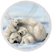 Round Beach Towel featuring the painting So Much Love by Veronica Minozzi