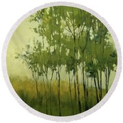 So Tall Tree Forest Landscape Painting Round Beach Towel