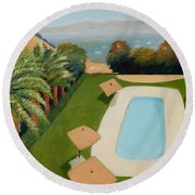 Round Beach Towel featuring the painting So Very California by Gary Coleman
