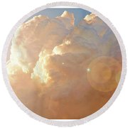 Soaring At Sunset, Hawk Silhouette Round Beach Towel