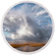 Soaring Clouds Round Beach Towel