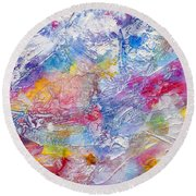 Round Beach Towel featuring the painting Soaring Ever Higher by Tracy Bonin