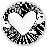 Soaring Heart  Round Beach Towel by Nada Meeks
