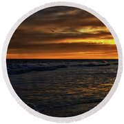 Round Beach Towel featuring the photograph Soaring In The Sunset by Kelly Reber