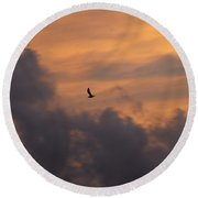 Round Beach Towel featuring the photograph Soaring Into The Sunset by Richard Bryce and Family