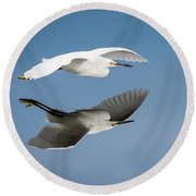 Soaring Over Still Waters Round Beach Towel