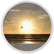 Soaring Seagull Sunset Over Imperial Beach Round Beach Towel